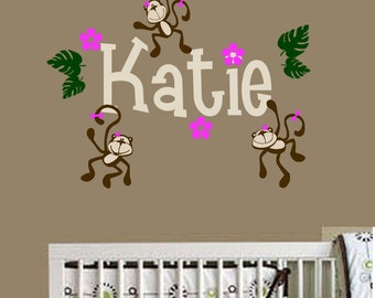 Girl Monkeys Hanging with Personalized Name Vinyl Wall Decals Nursery Room Decor - Girls