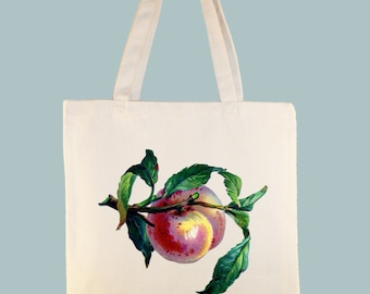 Peach Fruit Vintage Illlustration Canvas Tote - Selection of sizes available
