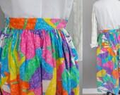 Vintage 80s Hawaiian Luau Beach Aloha Rockabilly Island Tropical Coastal Cotton high waist Skirt  S