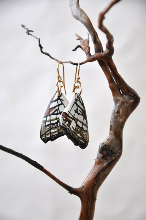 Common Map Butterfly Wings Earrings - Carved Walnut Hardwood & Hand Painted - 14 Karat Gold Filled Findings