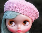 Pearls on Purls: Pale Pink Knitted Pearl Encrusted Blythe Beret