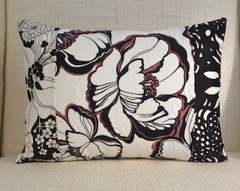 Throw Pillow Cover - Vintage Black, White & Tan Floral Patchwork - 12 x 16