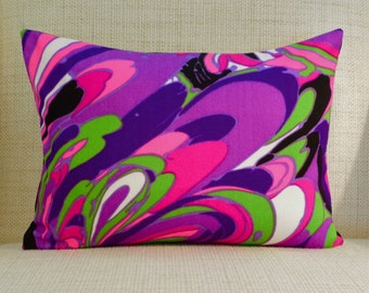 Throw Pillow Cover - Vintage Mod Fabric - Purple, Pink & Chartreuse Abstract Floral  - 12 x 16 (extremely limited supply)