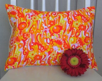 Throw Pillow Cover - Vintage Tutti Frutti Paisley Floral Mod Fabric - 12 x 16