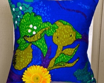 Pillow Cover - Vintage Cobalt Blue, Teal, Green Mustard and Purple Floral - 16 x 16
