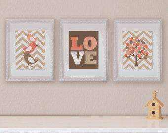 Birds and Tree, Children's Wall Art, Children's Art Print, Nursery Decor- Set of three 8x10 prints