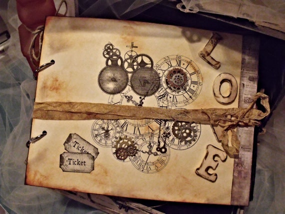 Wedding Guest Book Steampunk / Photo Booth / Sign in Book All in one