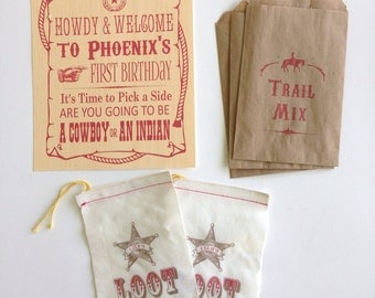 Cowboys and Indians Little Boy Birthday Party Package
