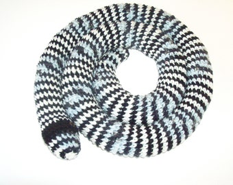 Amigurumi Snake - Crocheted Snake in Black, White and Gray (Finished Item)
