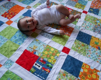 Large, Modern, Baby Boy/Toddler Patchwork Quilt with Trucks, Dots, and Owls - Ten Little Things Quilt- Ready to Ship