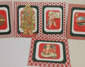 Assorted patterned cards, Christmas cards, matted cards, embellished cards, Set of 5, 4.25 x 5.5