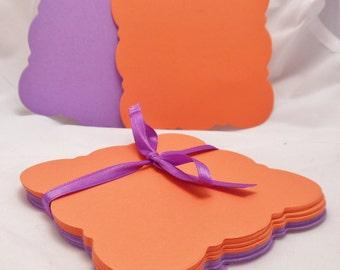 Set of 20, 4 x 4, Clemson University School Colors Coasters, Orange and Purple Square Scalloped Coasters, Orange and Purple Die Cut Cards