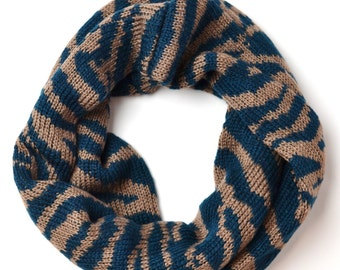 Chunky Knitted Infinity Snood, Cozy Infinity Scarf, Knitted Zebra Print Infinity Loop Circle Scarf Snood Cowl Fashion Accessory Womens