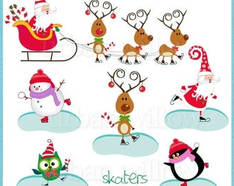CHRISTMAS SKATERS - Png clip art images, 300 dpi print quality.