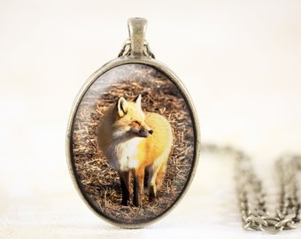 Bronze Fox Necklace - Woodland Animal Jewelry Pendant, Woodland Jewelry, Red Fox Jewelry, Woodland Necklace, Fox Animal Necklace