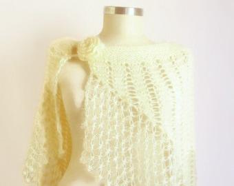 Handmade Knitting Ivory Shawl-Free Shipping
