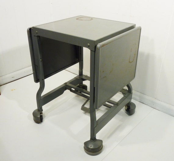 industrial paint metal table cart drop leaf use anywhere