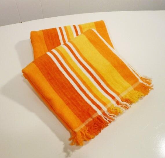 Pair Vintage Bath Towel Orange Gold Yellow Striped By