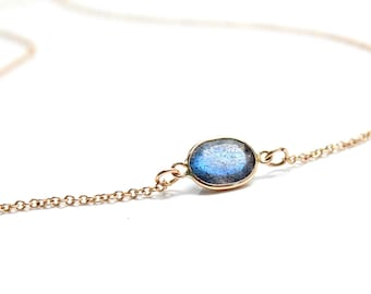 14k Solid Gold Blue Labradorite Solitaire Necklace - Small Gemstone Necklace  - Bridesmaids Jewelry -