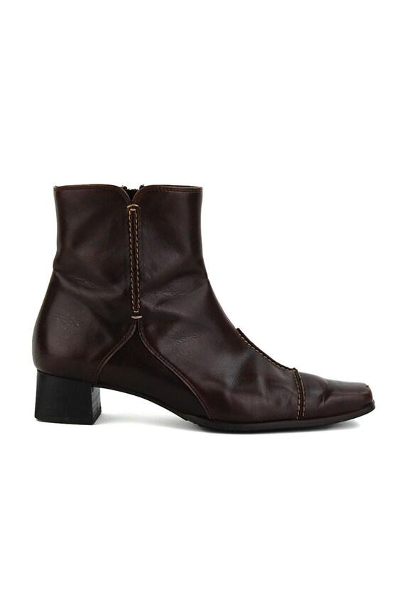 vintage paul green munchen brown heel ankle boots size us. Black Bedroom Furniture Sets. Home Design Ideas