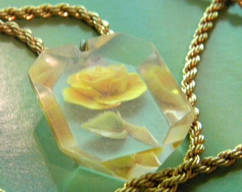 Reverse Carved Painted Lucite Flower