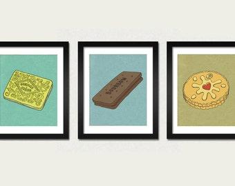 The Biscuit Triptych - Set of 3 Illustration Prints (Custard Cream, Bourbon, Jammy Dodger)
