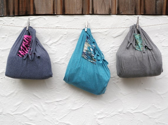 Reusable produce bag compact fold up grocery tote by for Reusable t shirt bags
