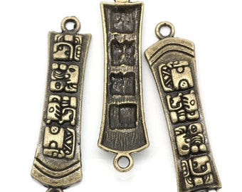 10 Connector Links . Rectangle Antique Bronze CARVED CARTOUCHE Pattern . chb0221