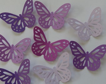 50 Mixed Purple Large Monarch Butterfly - Die Cuts - Scrapbooking Embellishments - Purple Paper Butterflies - Confetti - Table Scatter
