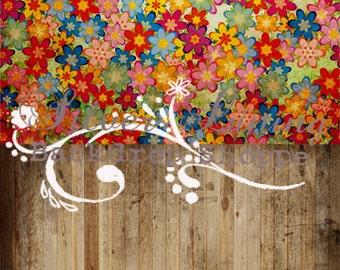 SALE 2fer 4ft x 8ft --  Photography Backdrop  Floordrop Split Combo Floor & Wall Grunge Flowers