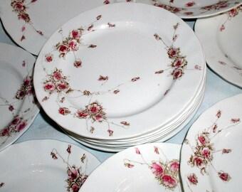 One Dozen Antique English Transferware Cake Plates Royal Doulton May Pattern 1875 Set of Affordable Bridal Shower China