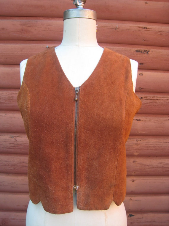 Groovy Funky Suede Hippie Rust Colored Vest with Zipper Pull