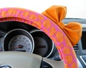 Steering Wheel Cover Bow, Glittery Pink and Orange Giraffe Steering Wheel Cover with Orange Bow BF11247