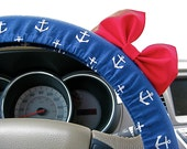 Steering Wheel Cover Bow - Nautical Nancy Navy Blue Anchor Steering Wheel Cover with Red Bow BF11112