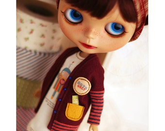 RED Robot Cardigan casual SET - for Momoko, Blythe - doll outfit