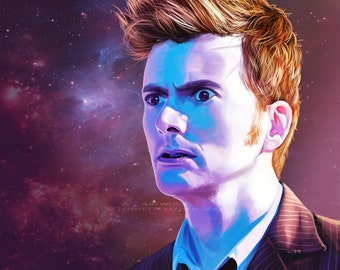 Doctor Who David Tennant 10th Doctor The Main Who Keeps Running Fan Art Prints
