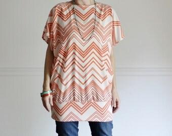 SAMPLE SALE - Chevron Top Oversized Shirt Woman's Medium Kimono Short Sleeve Blouse Orange