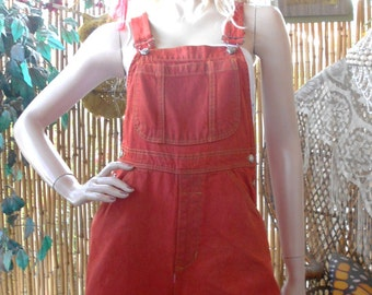 Vintage 90's Tangerine Hand Dyed Denim Shortalls/Overalls Size  Small