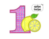 INSTANT DOWNLOAD, Machine Applique Design, Number One with Lemons
