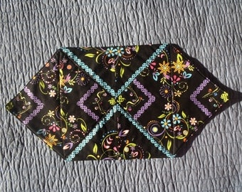 Neon Floral Quilted Table Topper