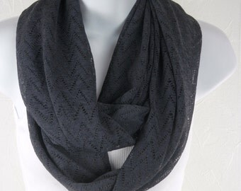 Chevron Novelty Lace in Dark Grey Knit Double Loop Scarf by Thimbledoodle