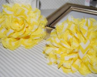 """Chiffon Lace Flowers - 2 pcs YELLOW CHEVRON - 3.75""""  fabric flowers Shabby Chic Frayed Chiffon mesh & Lace Flowers hair brooch headband"""