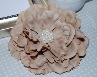 "Tan Beige Fabric Flowers Large 4.5"" silk flower with crystal pearl center floral corsage flower DIY hair flower headband flower Nancy Coll."