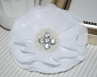 White Fabric Flowers - 3.5' soft chiffon  layered fabric flowers with rhinestone pearl centers Hair hat boutiquewhite wedding flowers Lorna
