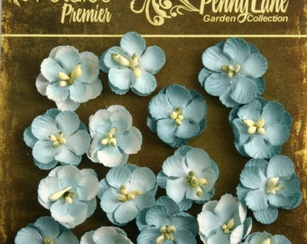 small Robin Egg Blue  paper Flowers Forget me Nots 1837-056 (16 count) wedding invitation embellishment  paper crafting flower scrapbooking