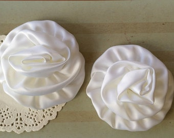"White Satin Rolled Rose Flowers Rosettes - Set of Two  3"" Fabric Flowers Applique Satin rose ruffles wholesale flower supplies wedding"