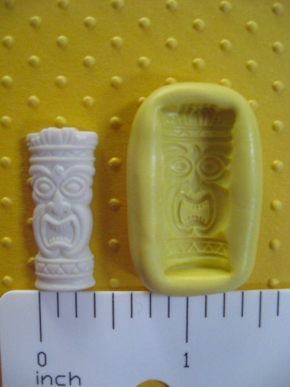 TIKI glass cup mold flexible silicone mold for polymer clay make charms jewelry fondant cake oreo pops  luau party theme tribal pendant