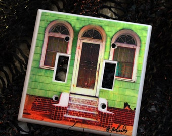 Light Switch cover......New Orleans....Green house....Treme Neighborhood....Photograph hand assembled