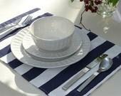 Reversible Placemats - Set of 4 - Premier Prints Navy Blue Stripes and Navy Blue Chevron - 13 x 19