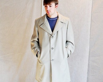 1960's Mens Coat Unisex Womens Off-White Coat 40R All Weather Outerwear Retro Faux Fur Vegan Long Coat Zip Out Lining Retro Costume American